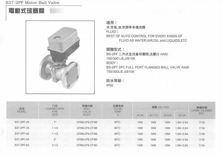 S37-2PF電動式球塞閥