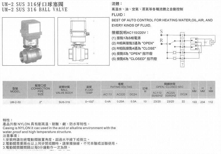 UM-2SUS316牙口球塞閥