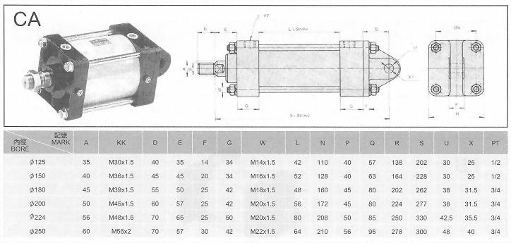 CA空壓缸ø125-ø250