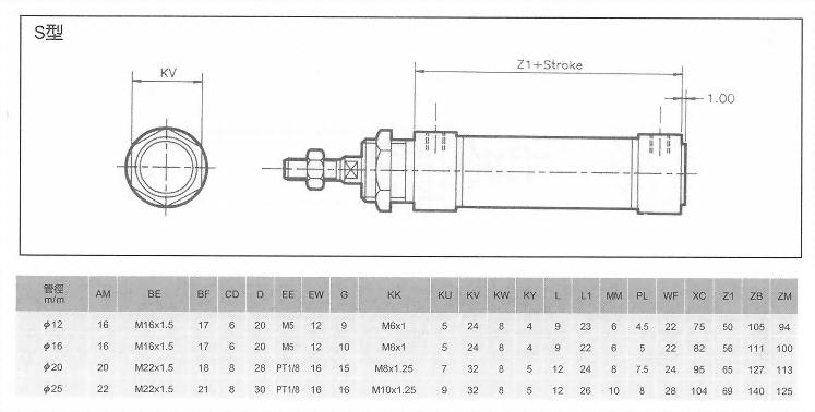MI系列S型空壓缸