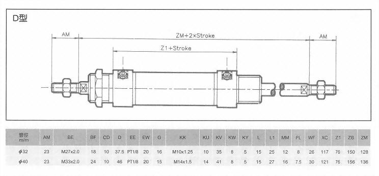 MK系列D型空壓缸