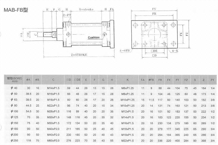 MA系列MAB-FB型空壓缸