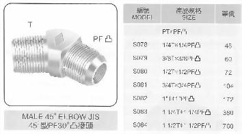 45°型PF30°凸接頭