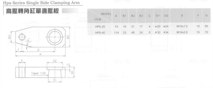 高壓轉角缸單邊壓板