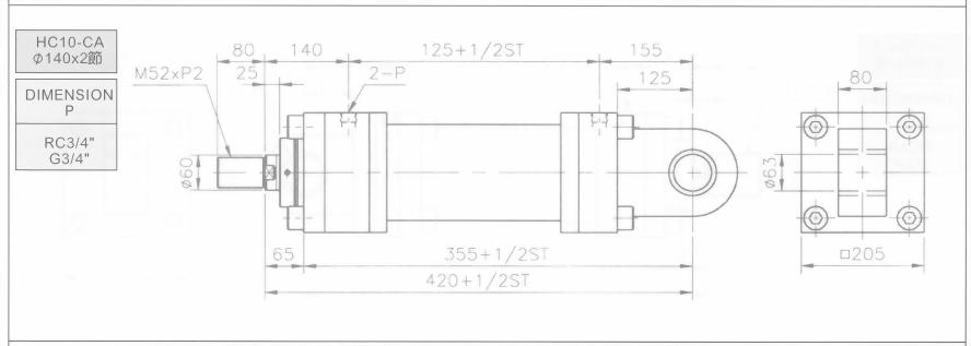HC10系列CA型ø140x4節油壓缸