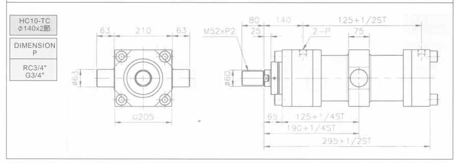 HC10系列TC型ø140x5節油壓缸