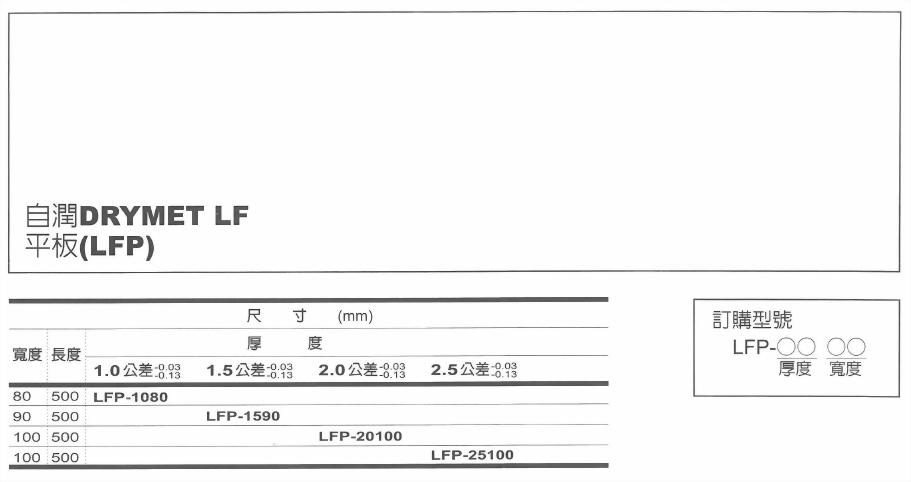 添加鐵弗龍系-自潤DRYMET LF平板