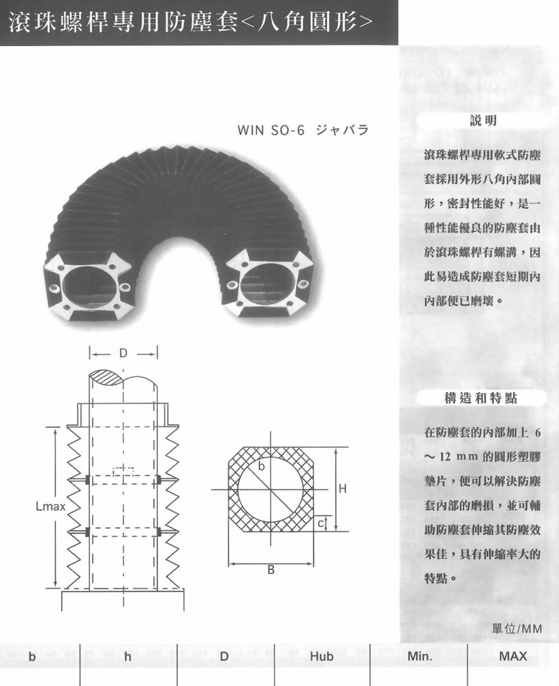 滾珠螺桿專用防塵套(八角圓形)
