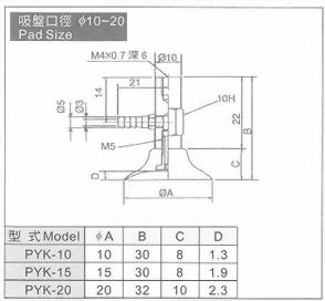 PYK-10,15,20真空系列-P系列(標準吸盤)