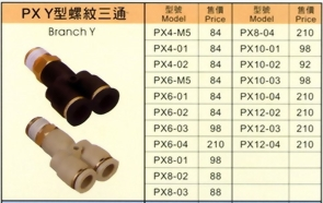 PX Y型分支螺紋三通