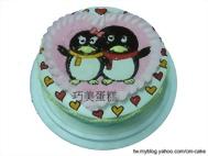 可愛版企鵝情侶造型蛋糕