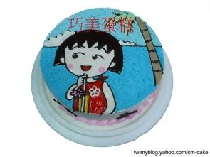 喝果汁的小丸子造型蛋糕