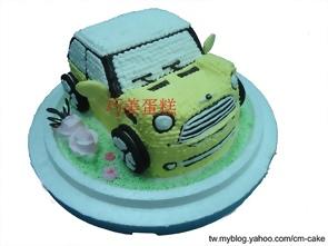 黃色MINI COOPER汽車造型蛋糕
