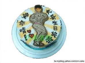 藍色威而鋼造型蛋糕