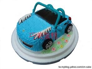 藍色法拉利敞篷車造型蛋糕