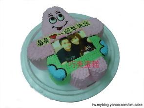 相片+卡通造型蛋糕