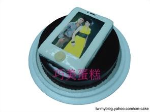 白色iphone4+巧克力淋面生日蛋糕