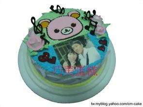 相片+粉紅拉拉熊造型蛋糕