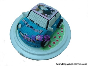 相片+mini cooper汽車造型蛋糕