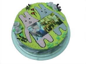 2隻綿綿兔+相片蛋糕