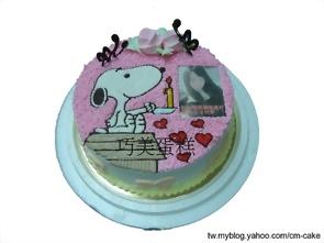 相片+史奴比造型蛋糕