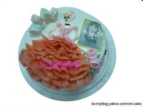 相片+粉紅公主造型蛋糕