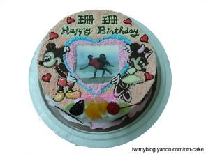 相片+米奇米妮造型蛋糕