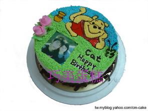 相片+俏皮維尼造型蛋糕