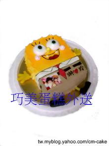 相片+海綿寶寶造型蛋糕