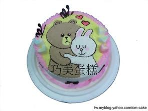 小兔抱熊貼圖造型蛋糕