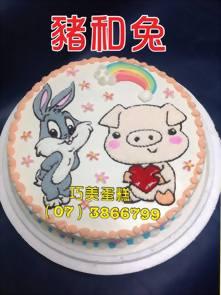 豬和兔造型蛋糕