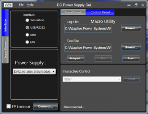 DC Power GUI Software PROGRAMMABLE DC POWER SUPPLY CONTROL SOFTWARE