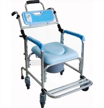鋁合金可躺式折合洗澡便器椅-藍