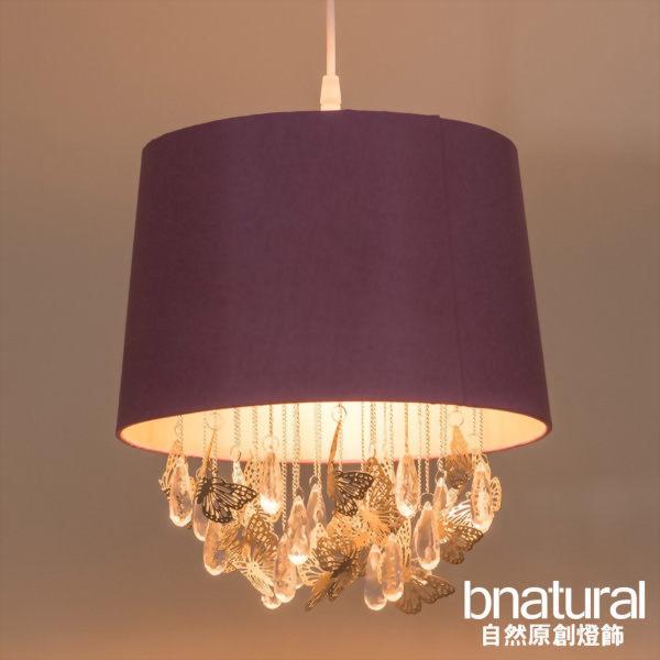 bnatural 蝴蝶透明壓克力珠掛鏈粉紅吊燈(BNL00010)