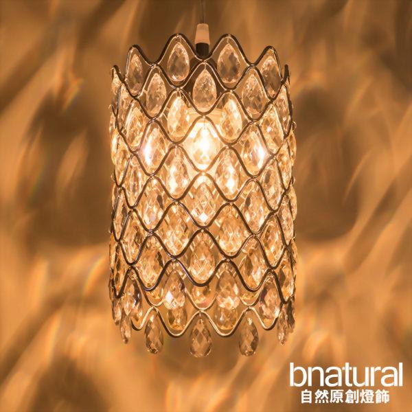 bnatural 鍍鉻銀鐵花邊壓克力珠吊燈(BNL00051)