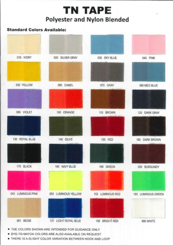 Color Chart - T/N Tape