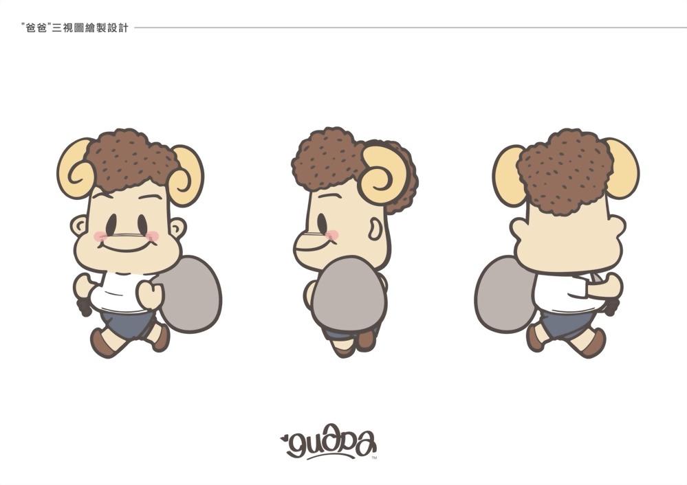 吉祥物設計 | Guapa Q版一家人三視圖 3