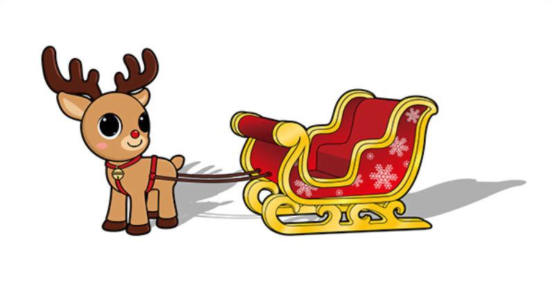 吉祥物設計-雪橇與Q版麋鹿 1