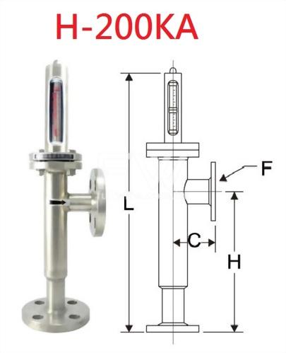 金屬管面積式流量計-玻璃管指示 法蘭接續 流體底進側出
