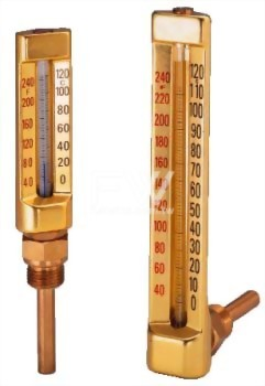 Glass Tube Thermometer with Metal Housing