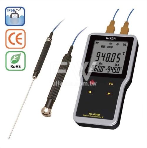 熱電偶溫度計TK-6200 高精度0.01、K(CA)雙輸入、雙警報、IP66防水型