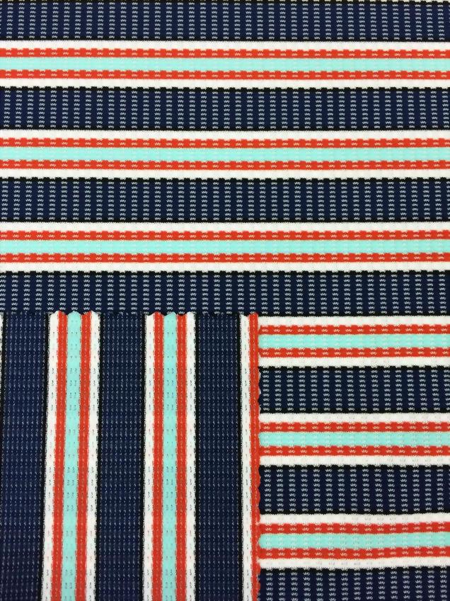 N/T/Spx yarn dye stripe mesh Jacquard