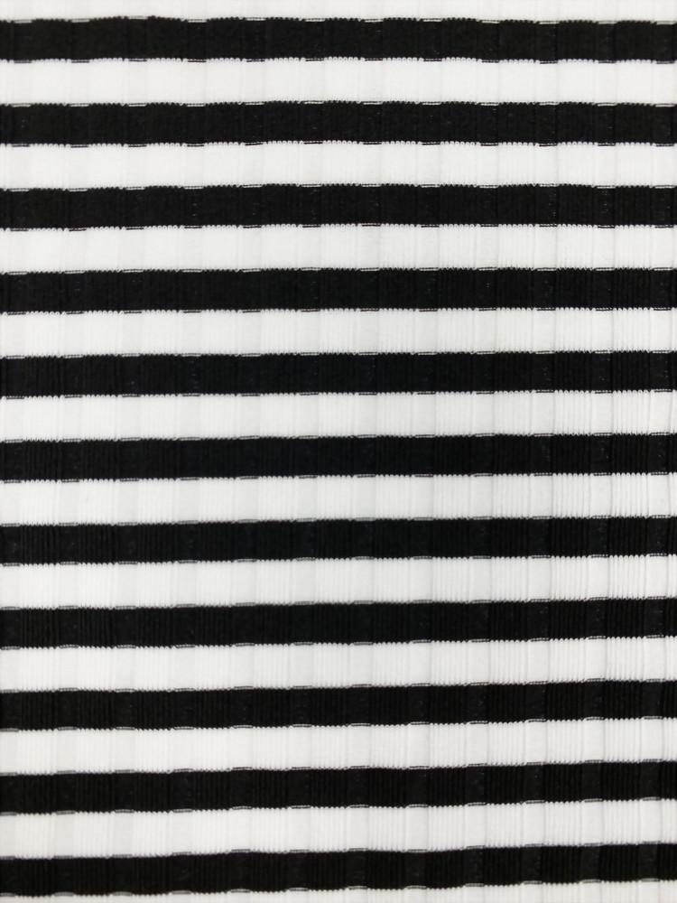 Nylon Spandex Knitted Rib Stripe Fabric
