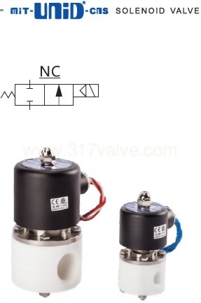 DIRECT-ACTING, CONDUCTIVE AND NORMALLY CLOSED SOLENOID VALVE (UDC-TF Corrosion Resistance Series (PTFE Body))