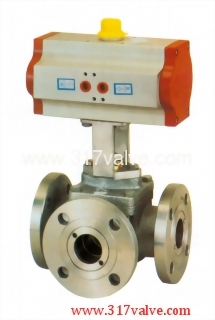 PNEUMATIC ACTUATED 3-WAY BALL VALVE FLANGED END (STD DOUBLE ACTING) (NUD-3043WF)