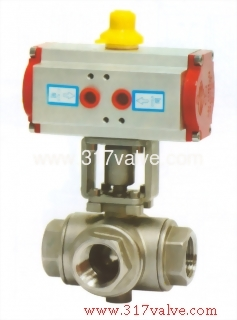 PNEUMATIC ACTUATED 3-WAY BALL VALVE SCREWED END (STD DOUBLE ACTING (NUD-BV3BL/NUB-BV3BT)