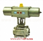 (NUS-BV2PM) PNEUMATIC ACTUATED 2-PC BALL VALVE SCREWED END (STR SINGLE ACTING)