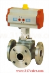NUD-3043WF (PNEUMATIC ACTUATED 3-WAY BALL VALVE FLANGED END (STD DOUBLE ACTING))
