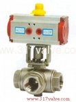 (NUD-BV3BL(T))  PNEUMATIC ACTUATED 3-WAY BALL VALVE (STD DOUBLE ACTING)