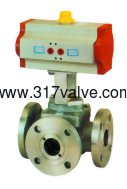 (NUD-3043WF) PNEUMATIC ACTUATED 3-WAY BALL VALVE FLANGED END (STD DOUBLE ACTING)